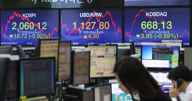 Caption: Bearish financial indices are shown at a dealing room of KEB Hana Bank headquarters in Seoul, on Dec. 20.(Yonhap)
