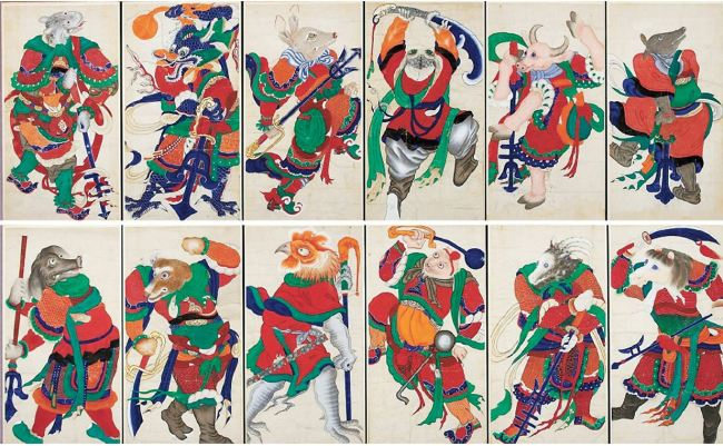 Painting of 12 Chinese zodiac animals (National Museum of Korea)