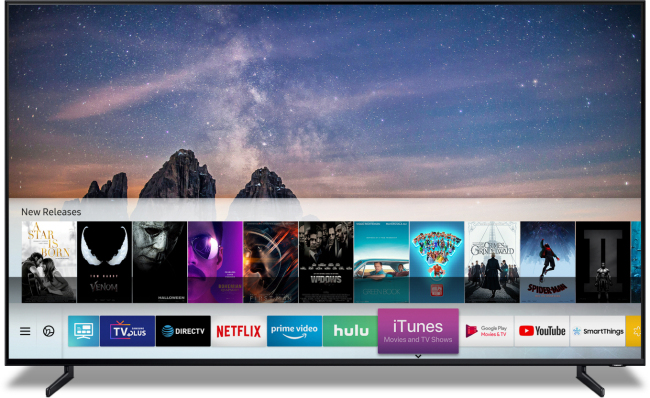 Samsung Electronics announced that it will equip its Samsung Smart TV with Apple's iTunes Movie and TV shows app and AirPlay 2, at the Consumer Electronics Show 2019 in Las Vegas, Sunday. This is the first time a smart TV would have both iTunes and AirPlay. (Yonhap)