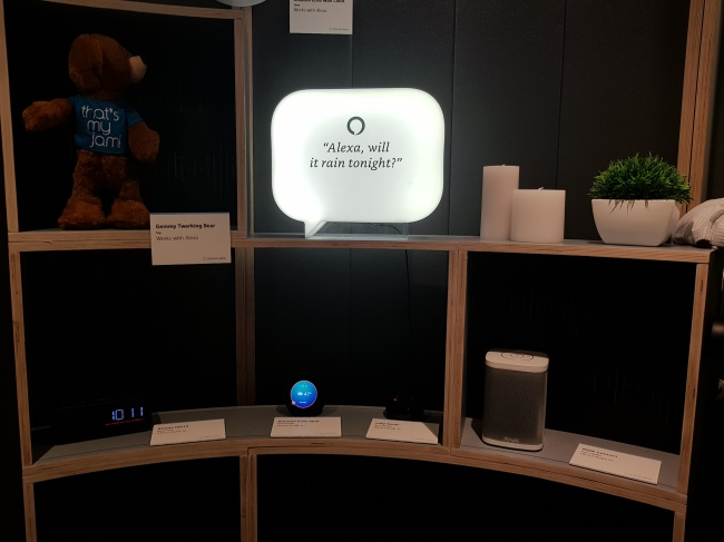 Amazon showcases Alexa in a smart home setting at the CES 2019 in Las Vegas, Tuesday. (Sohn Ji-young/The Korea Herald)