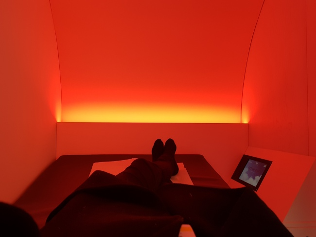 The view inside the Procyon Dream Box developed by France's Silence Business Solutions (Sohn Ji-young/The Korea Herald)
