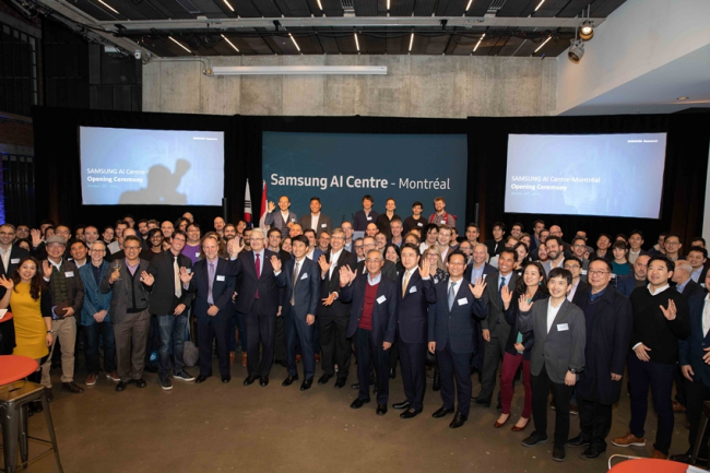 Officials and experts on AI celebrate opening of AI Center in Montreal, Canada, in October 2018. (Samsung Electronics)