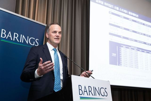 David Mihalick, head of Barings' US High Yield Investments Group, speaks at a press conference in Yeouido, Seoul on Wednesday. (Barings)