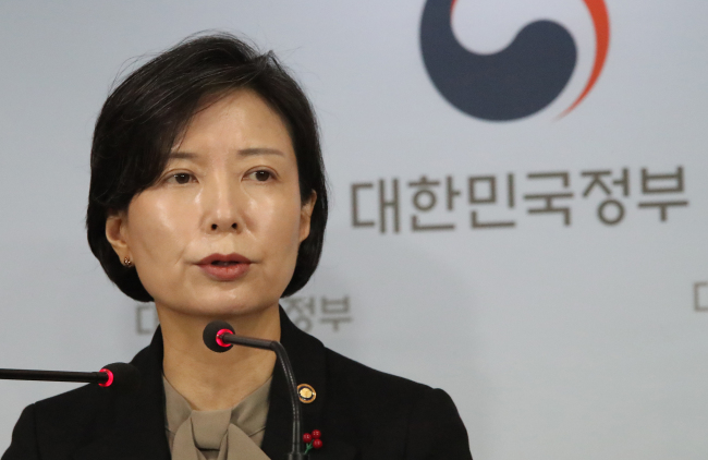 Lee Sook-jin, vice minister of gender equality and family, briefs the press in Seoul on Thursday on government actions to stop sexual violence and human rights breaches in the sports community. (Yonhap)