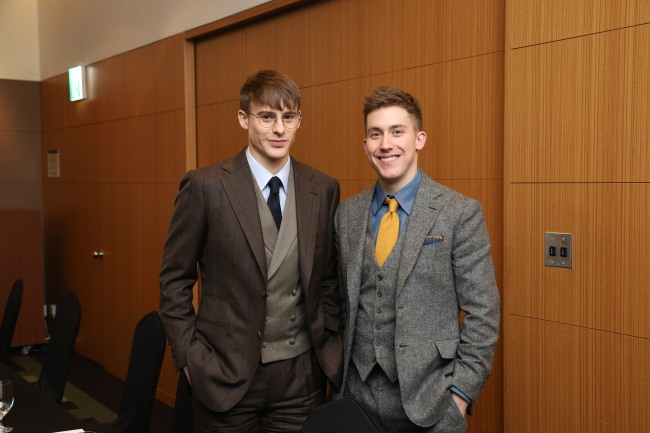 YouTubers Josh Carrott and Ollie Kendal pose for photos before the 2019 CICI Korea Image Awards, held on Jan 10 at the InterContinental Seoul Coex by the Corea Image Communication Institute. They received the Korea Image Stepping Stone Bridge Award for promoting Korean foods to the world. (CICI)