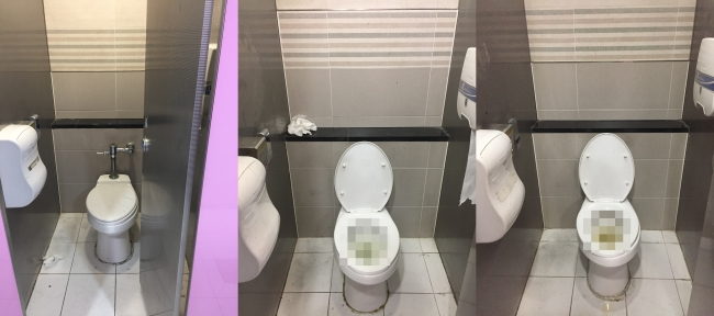 Three of the 20 toilets in the women's restrooms at Seoul's Hongik University Station were out of order due to blockages when The Korea Herald visited on Jan. 14. (Park Ju-young/The Korea Herald)