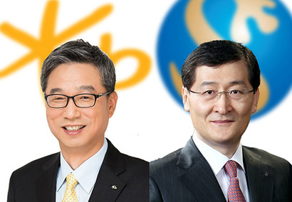 KB Kookmin Bank CEO Hur Yin (left) and Shinhan Bank CEO Wi Sung-ho (KB Kookmin Bank/Shinhan Bank)