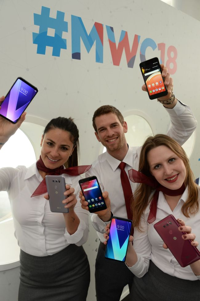 Models show LG phones at Mobile World Congress in Barcelona in February, 2018. (LG Electronics)