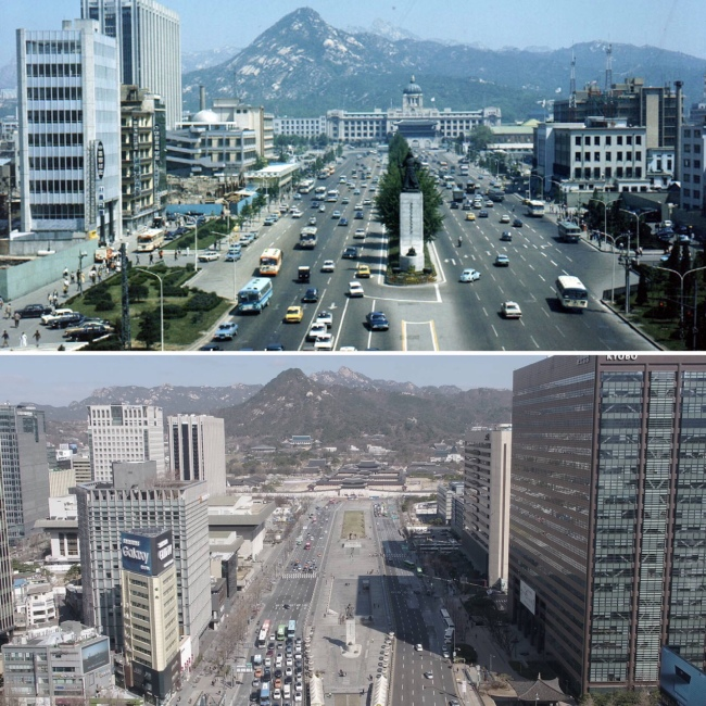 Gwanghwamun Square in the 1970s (top) and now (Seoul Metropolitan Government)