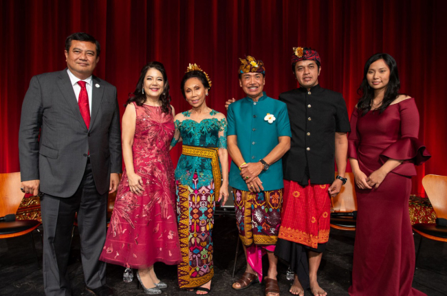 "Indonesian Ambassador to Korea Umar Hadi (left) and gamelan composer Nyoman Wenten (third from right) pose at the premiere of ""Bali: Beats of Paradise"" at the Academy of Motion Picture Arts and Sciences in Beverly Hills, California, on Nov. 7, 2018. (Indonesian Embassy)"