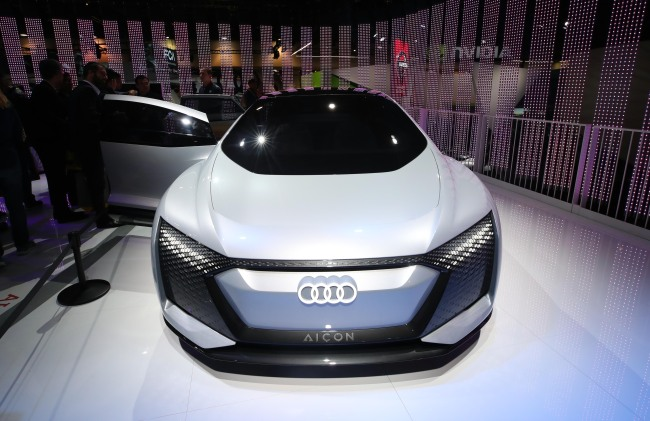 Audi's EV concept car Aicon is exhibited at CES 2019 in Las Vegas in January. (Yonhap)