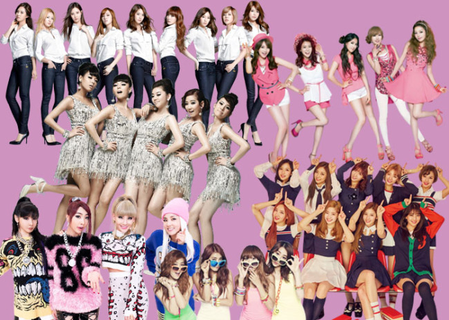 Girls' Generation, Kara, Wonder Girls, Twice, 2NE1 and Sistar