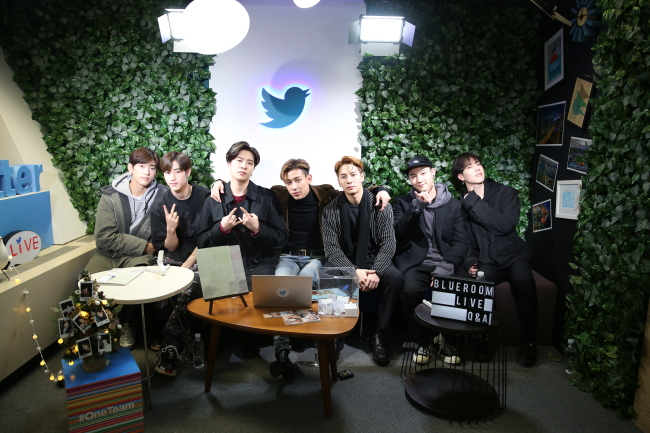 GOT7 sits in the Blueroom studio at Twitter Korea headquarters on Dec. 5, 2018. (Twitter Korea)