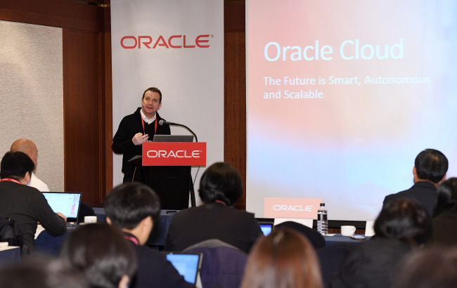 Andrew Sutherland, Senior Vice President of Systems & Technology for Oracle Europe, Middle East & Africa & Asia Pacific, says during a press conference in Seoul Tuesday. Yonhap