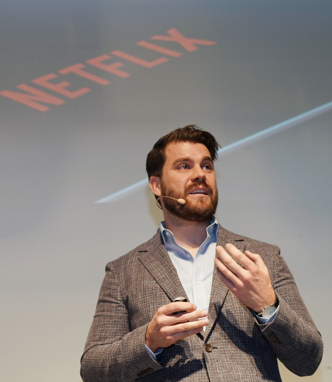 "Andy Law, Netflix director of product design, mobile and web, speaks during a preview of ""Kingdom"" in Seoul on Jan. 24. (Netflix)"