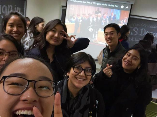 Students who opened an academic course at the University of California, Berkeley, to explore the phenomenal success of K-pop boy band BTS and its growing global impact, pose for a picture on Thursday. (Yonhap)