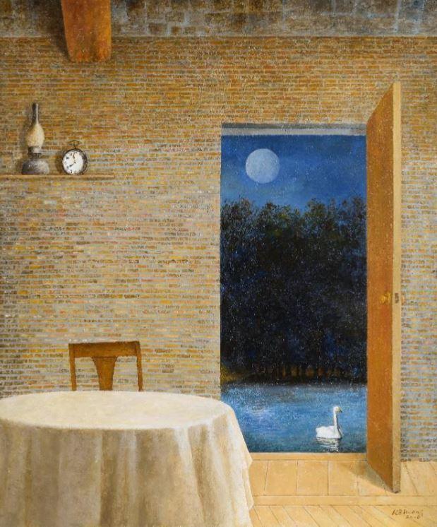 """Moon and Swan"" (2016) by artist Hwang Kyu-baik (Gana Art Center)"