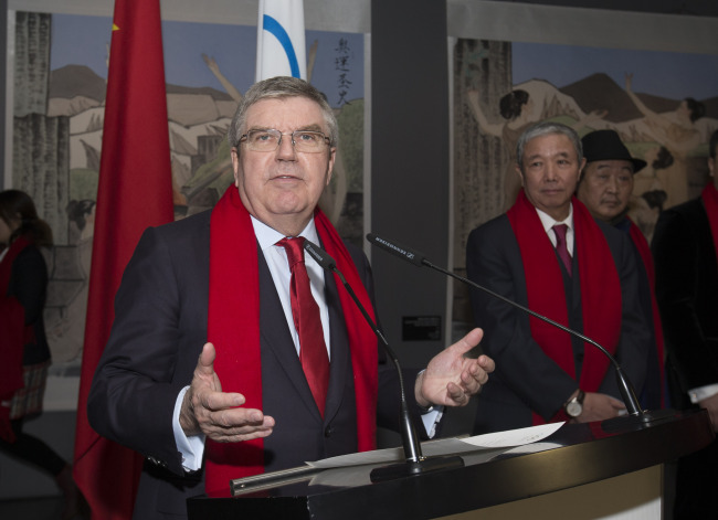 International Olympic Committee (IOC) President Thomas Bach speaks during the series of China Red Spring Festival at the Olympic Museum in Lausanne, Swizterland, Feb. 4.