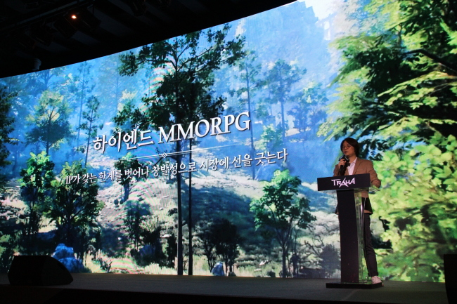"Choi Sung-wook, chief of Nexon's mobile business, introduces ""Traha"" at the media showcase held Thursday. (Lim Jeong-yeo/The Korea Herald)"