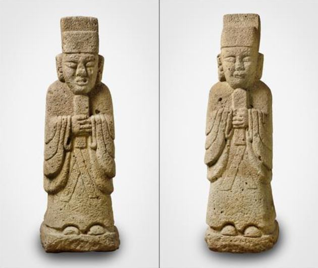 A pair of stone statues of civil officials from the Joseon era (OCHF)