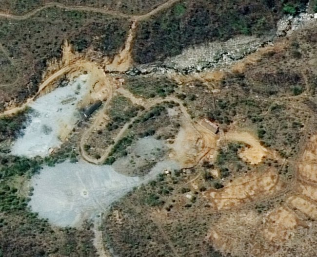 This satellite image provided by DigitalGlobe shows the nuclear test site in Punggye-ri, North Korea, on May 7. AP-Yonhap