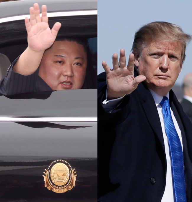 North Korean leader Kim Jong-un waves upon his arrival at the border town of Dong Dang, Vietnam, Tuesday. (L) US President Donald Trump boards Air Force One prior to departure from Joint Base Andrews in Maryland, Monday. (Yonhap)
