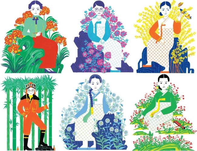 Illustrtation of independence activist Kim Ra-sa, Kim Maria, Nam Ja-hyeon, Kwon Ki-ok, Yu Gwan-sun and Yoon Hee-soon (Great Books)