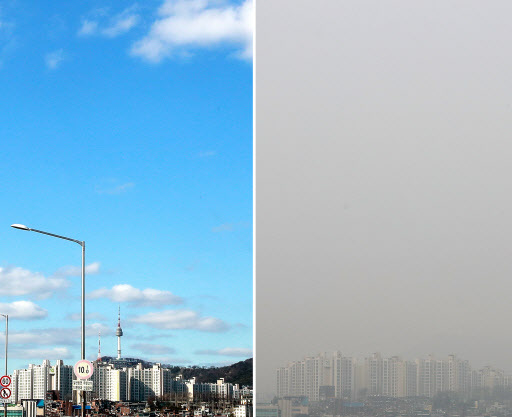 Downtown Seoul a year ago (left) and now. (Yonhap)