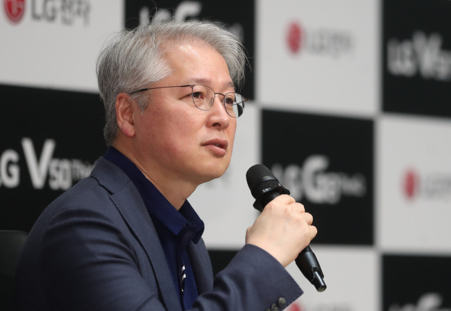 Kwon Bong-seok, president of the home entertainment business at LG, speak during a ceremony to launch LG Electronics' 2019 TV lineup in Seoul on Wednesday. (Yonhap)