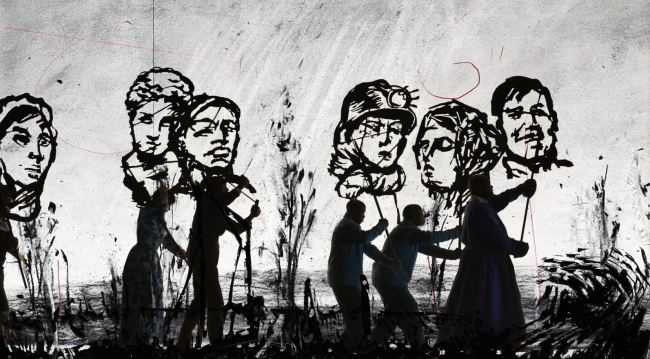 """A scene from """"More Sweetly Play the Dance"""" (2015) by William Kentridge (SeMA)"""