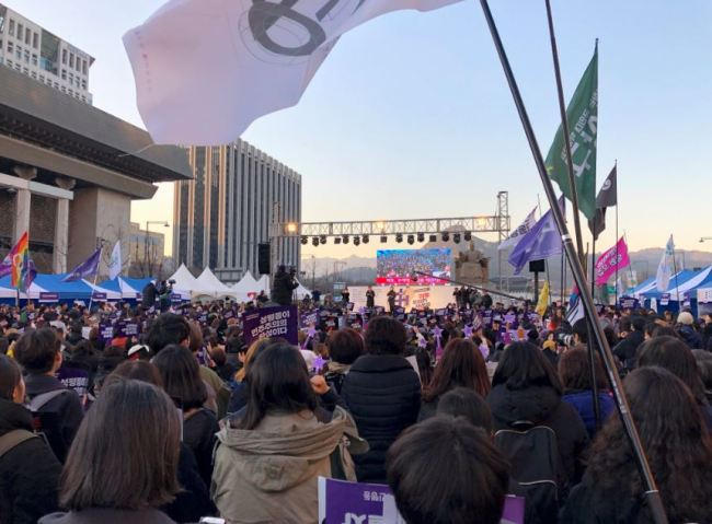 About 5,000 participants flocked to Gwanghwamun Square to celebrate the International Women's Day on March 8 (Park Ju-young / The Korea Herald)