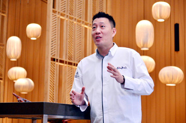 Chef Akira Back speaks during an interview with The Korea Herald at his new namesake restaurant at Four Seasons Hotel Seoul on March 7. (Park Hyun-koo / The Korea Herald)