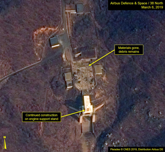 This image provided by Airbus Defence & Space and 38 North via a satellite image from CNES which was captured on March 6, 2019, shows the Sohae Satellite Launch Facility in Tongchang-ri, North Korea. (AP-Yonhap)