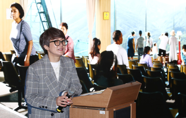Kim Sun-jung, curator and president of the Gwangju Biennale Foundation, speaks during a press conference held held Wednesday at the arts and cultural complex. (Yonhap)