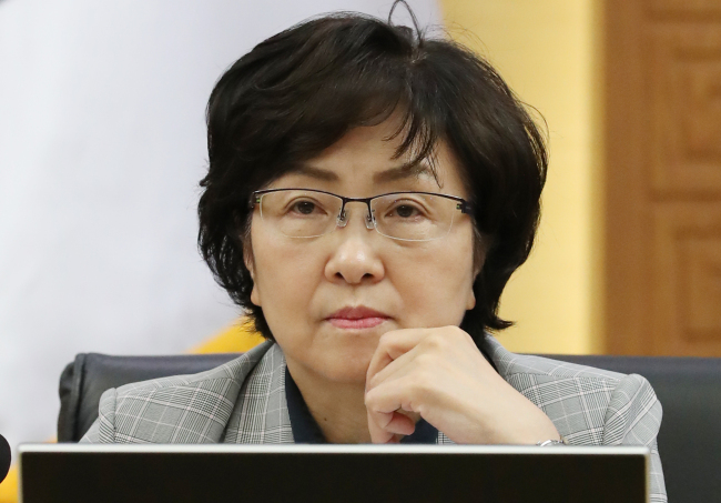 A file photo shows former Minister of Environment Kim Eun-kyung at a Cabinet meeting in July 2018. Yonhap