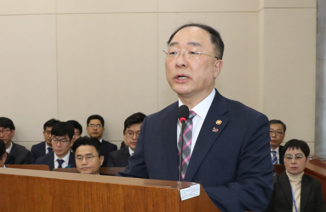 Deputy Prime Minister and Finance Minister Hong Nam-ki speaks at the National Assembly on Tuesday. (Yonhap)