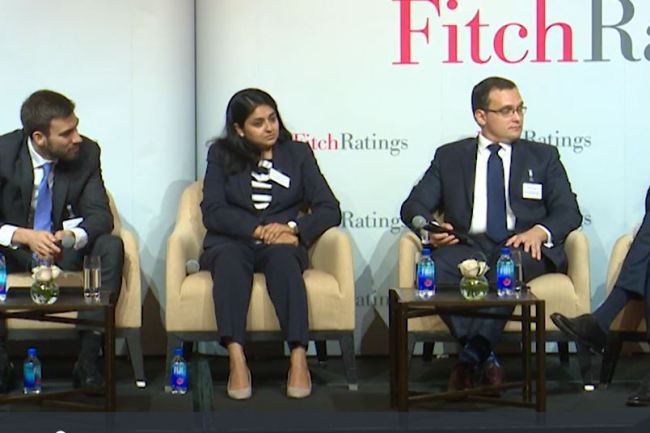 Speakers at a forum hosted by Fitch Ratings debate on South Korea's sovereign rating at a hotel in Hong Kong, Sept. 11, 2018. (Fitch Ratings)