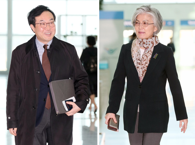 Foreign Minister Kang Kyung-wha (right) and Lee Do-hoon, special representative for Korean Peninsula peace and security affairs (Yonhap)