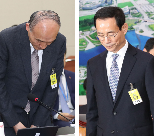 President Moon Jae-in on Sunday withdrew his nomination of Science and ICT Minister candidate Cho Dong-ho (left) over his participation in a controversial conference, while Transport Minister nominee Choi Jeong-ho (right) voluntarily stepped down amid growing questions over his qualifications for the role. (Yonhap)