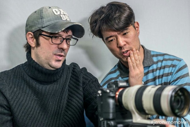 """Joseph Juhn (right) during the production of """"Jeronimo"""""""