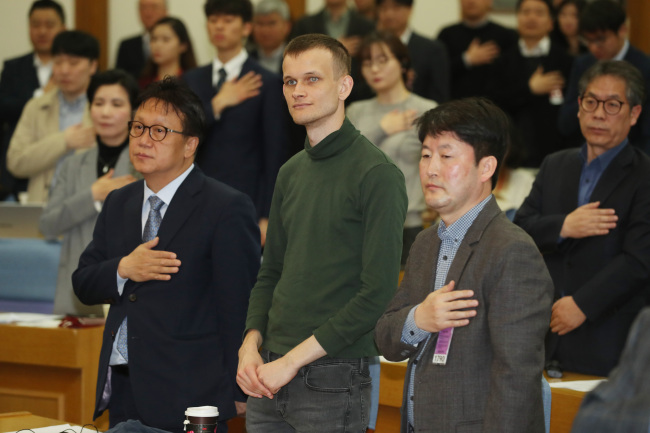 Ethereum co-founder Vitalik Buterin attended a meeting with lawmakers in Seoul Friday. Yonhap