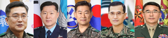 From left: Lt. Gen. Suh Wook, nominee for the Army chief of staff; Lt. Gen. Won In-choul for the Air Force chief of staff; Lt. Gen. Choi Byung-hyuk for the deputy commander of the South Korea-US Combined Forces Command; Lt. Gen. Nam Young-sin for the head of the Ground Operations Command; Maj. Gen. Lee Seung-do for Marine Corps commandant. (Yonhap)