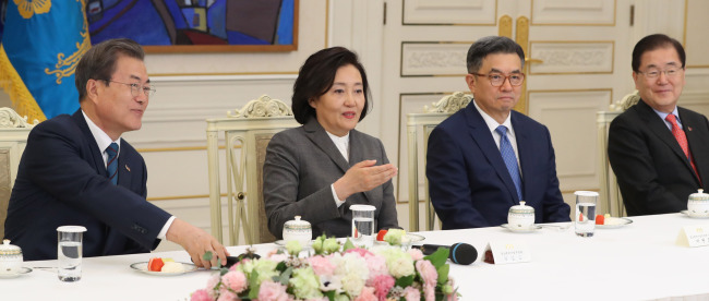 New SMEs and Startups Minister Park Young-sun (second from left) (Yonhap)