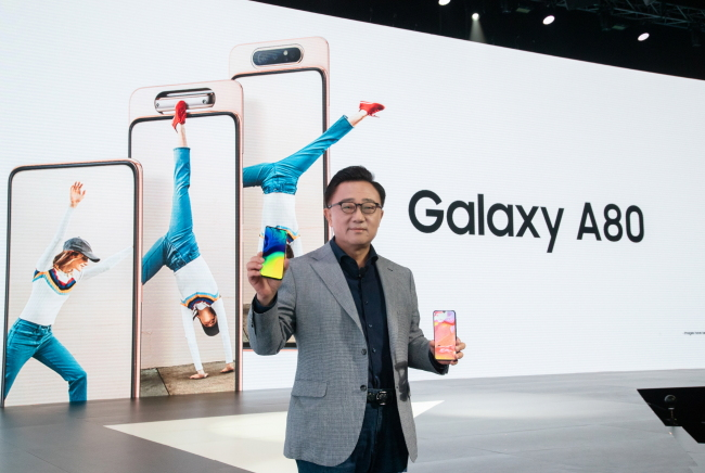 CEO Koh Dong-jin introduces Galaxy A80 in Bangkok on Wednesday. (Samsung Electronics)