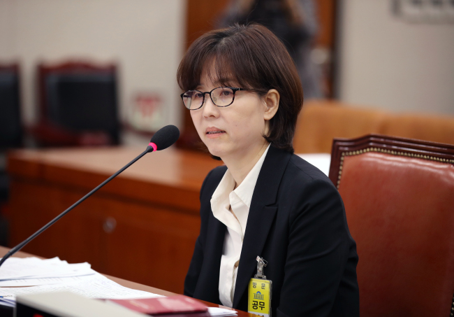 Constitutional Court Justice nominee Lee Mi-sun attends a confirmation hearing at the National Assembly on Wednesday. (Yonhap)