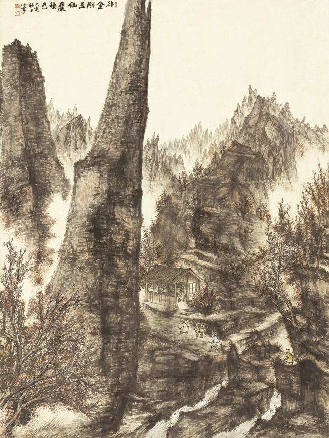 """Samseonam Hermitage in Outer Mt. Geumgang in Autumn"" (1959) by Byeon Gwan-sik (Gallery Hyundai)"