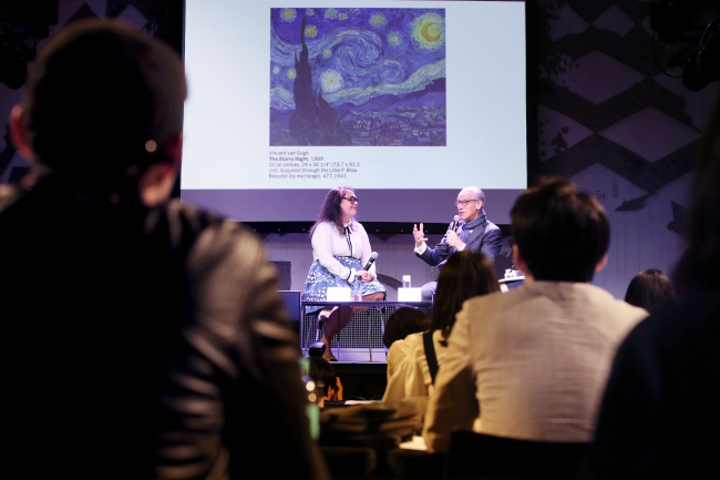 Museum of Modern Art Director Glenn Lowry (right) and curator Sara Suzuki speak during a press conference Tuesday at Hyundai Card Understage, in Itaewon, Seoul. (Yonhap)