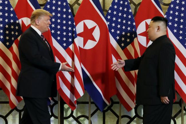 In this Feb. 27, 2019, file photo, US President Donald Trump meets North Korean leader Kim Jong Un in Hanoi. (AP-Yonhap)