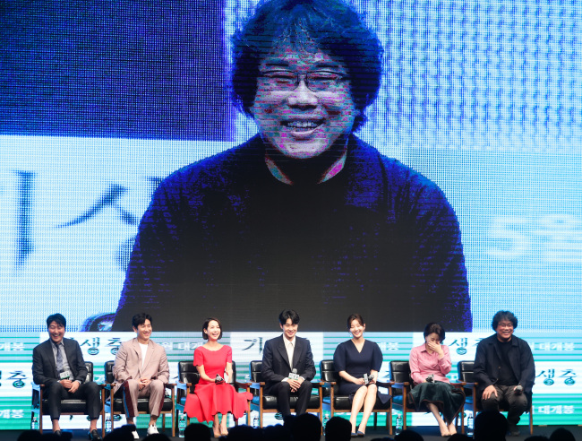 "Film director Bong Joon-ho speaks during a press conference for ""Parasite,"" held at The Westin Chosun Seoul on Monday. (Yonhap)"