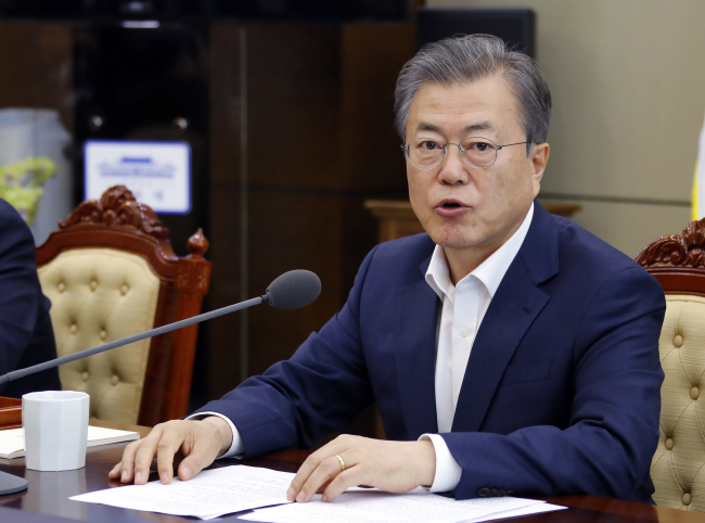 President Moon Jae-in speaks during a meeting with senior aides on April 15. Yonhap